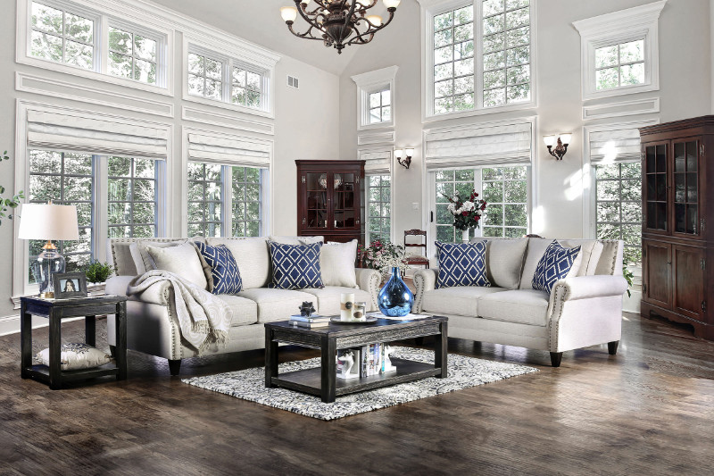 SM2672 2 pc Giovanni collection ivory linen like fabric upholstered sofa and love seat set with nail head trim