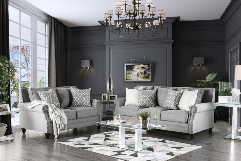 SM2673 2 pc Giovanni collection light gray linen like fabric upholstered sofa and love seat set with nail head trim