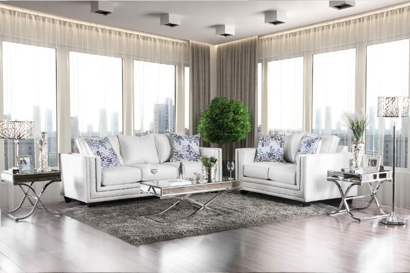Furniture of america SM2675 2 pc Ilse off white chenille fabric sofa and love seat set