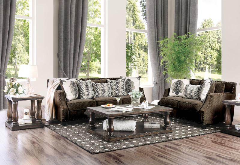 Furniture Of America SM3073 2 Pc Cornelia Dark Brown Chenille Fabric Sofa  And Love Seat