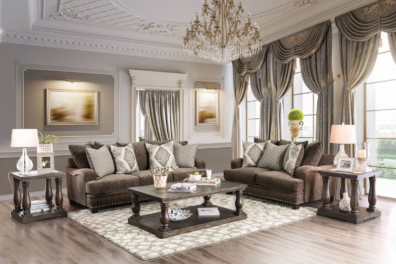 Furniture of america SM3075 2 pc Pauline dark brown chenille fabric sofa and love seat set