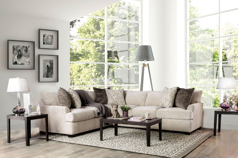 Furniture of america SM3079 2 pc Alisa ivory chenille fabric sectional sofa