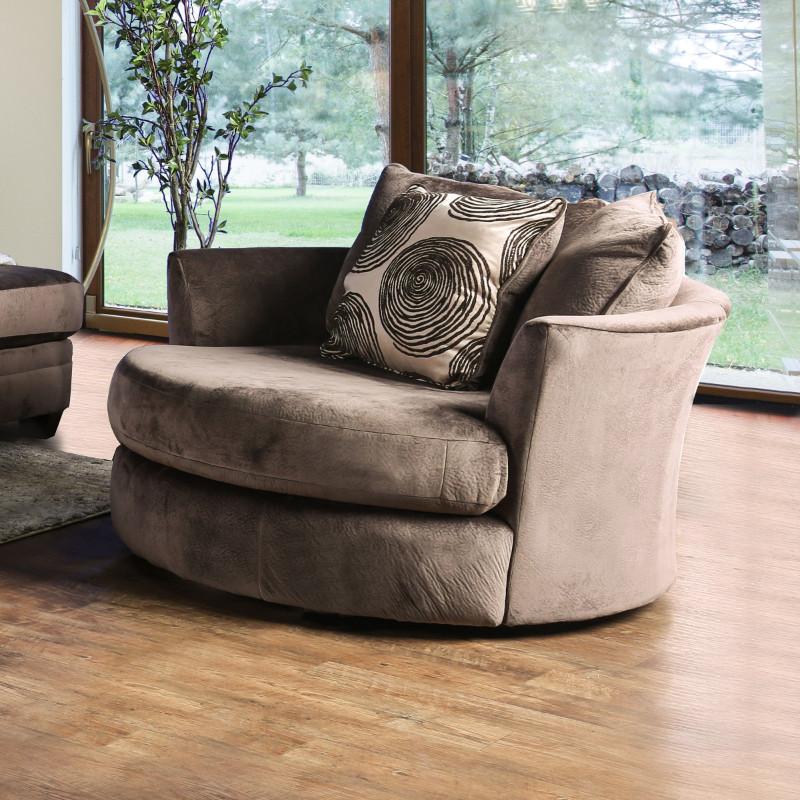 Furniture of america SM5142BR-CH Bonaventura brown plush microfiber swivel oversized round accent chair