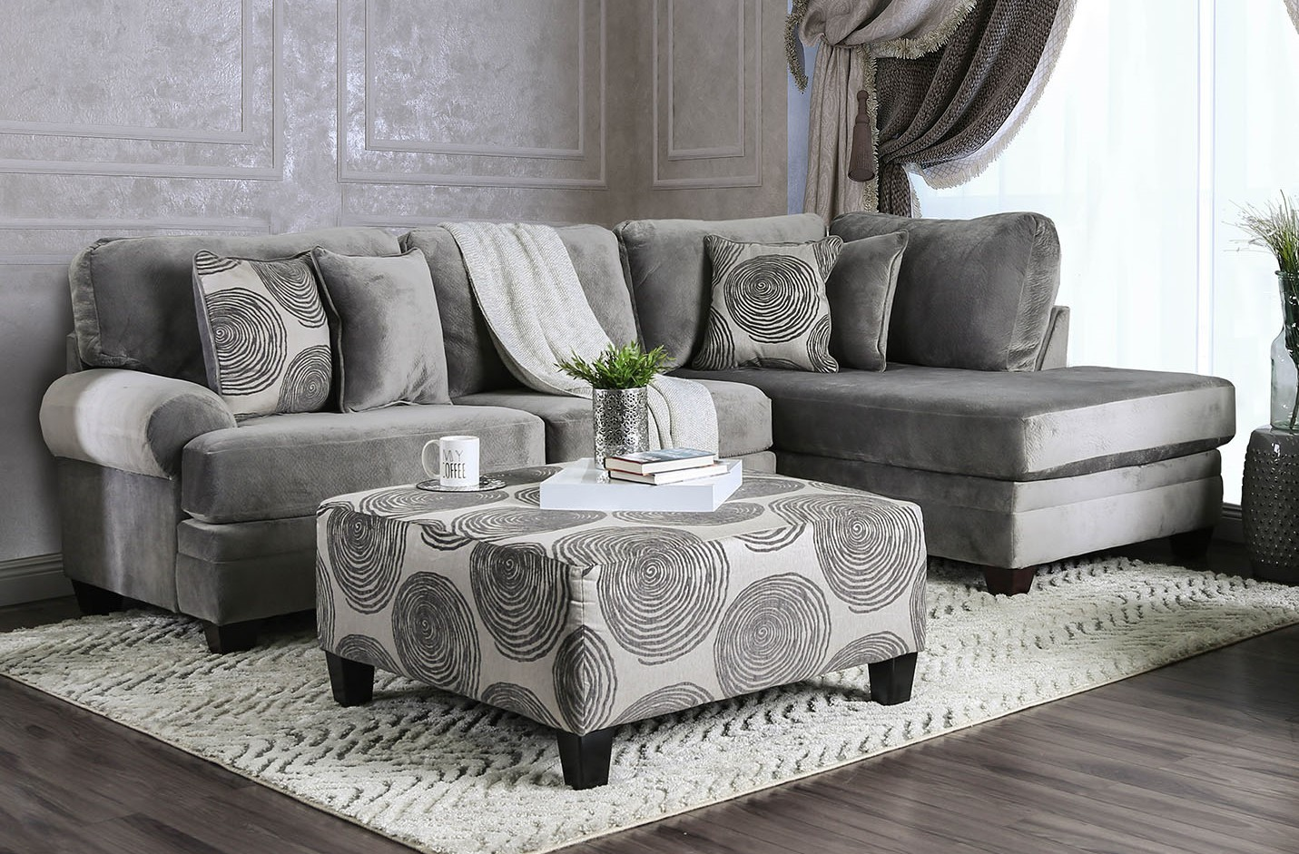 SM5143GY 2 pc Bonaventura gray plush microfiber sectional sofa