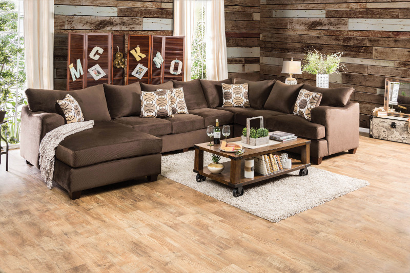 SM6111 3 pc Wessington collection chocolate fabric upholstered sectional sofa set with rounded square arms