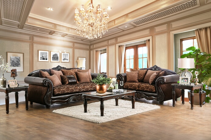SM6404 2 pc elpis collection brown fabric sofa and love seat set with wood trim