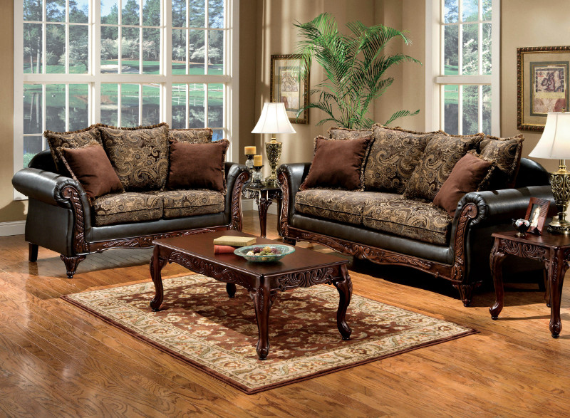 SM7630 2 Pc. Classic Style Rotherham Cognac Floral Design With Carved Design Wood Trim - Made In The USA