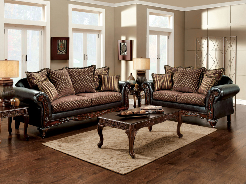 SM7635 2 pc San Roque traditional style two tone gold brown fabric and espresso leatherette Sofa and love seat set with wood trim Made in the USA