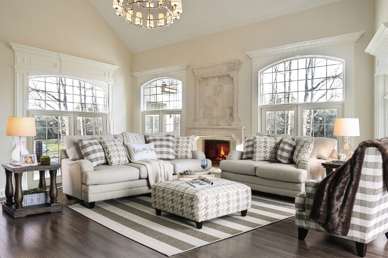 Furniture of america SM8280 2 pc Christine light gray linen like fabric sofa and love seat set