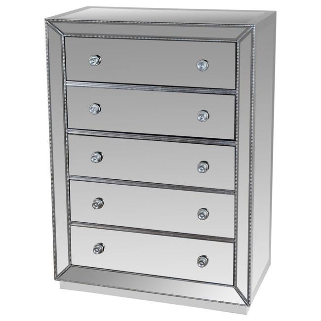 Best Master T1803-Chest Silver finish wood and mirrored panels 5 drawer tall chest