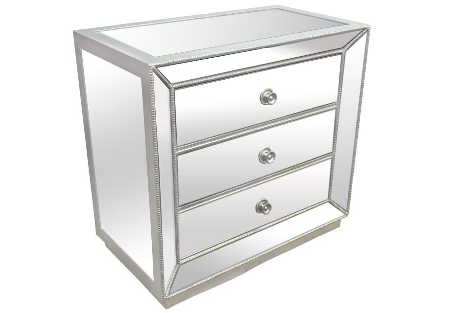 Best Master T1803-Nightstand Silver finish wood and mirrored panels 3 drawer night stand