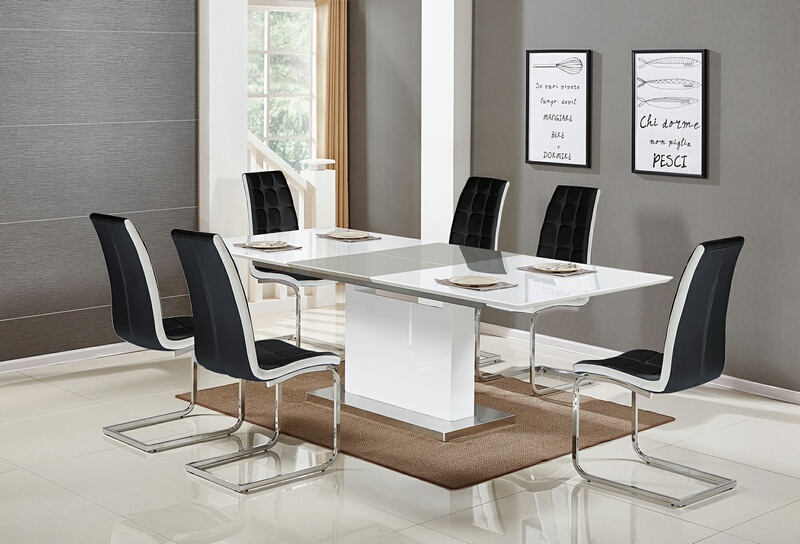Wood Modern Dining Table Set, Dining Room Chairs Set Of 6 Black And White