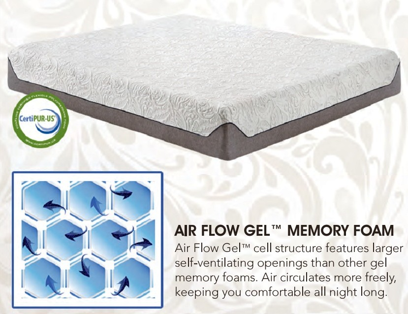 "Ventura Venti 1000 QN 10"" standard top with air flow gel memory foam Queen memory foam mattress"