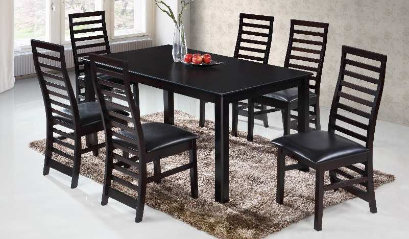 Casa Blanca CB-Victoria-7PC 7 pc victoria collection espresso finish wood dining table set with ladder slatted backs and vinyl seats