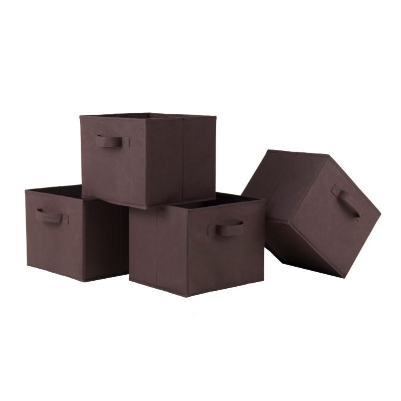 ww38422 Capri Set of 4 Foldable Chocolate Fabric Baskets