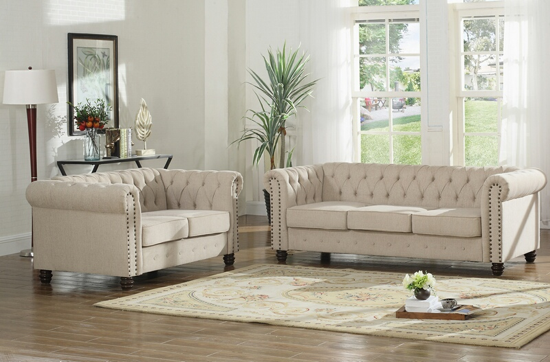 Best master YS001-2pc-BG 2 pc Klein venice beige fabric tufted backs sofa and love seat set