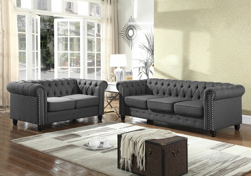 Best master YS001-2pc-GY 2 pc Klein venice gray fabric tufted backs sofa and love seat set