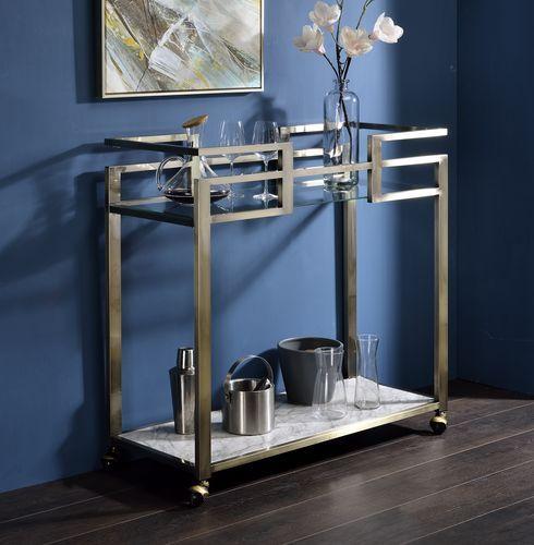Acme AC00159 Neilo Orren ellis metallic finish metal frame glass top kitchen island tea cart