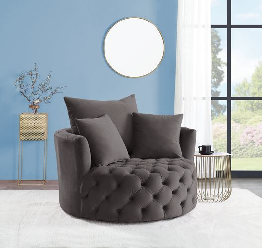 Acme AC00292 Zunyas gray velvet tufted fabric round swivel barrell back chair with accent pillows