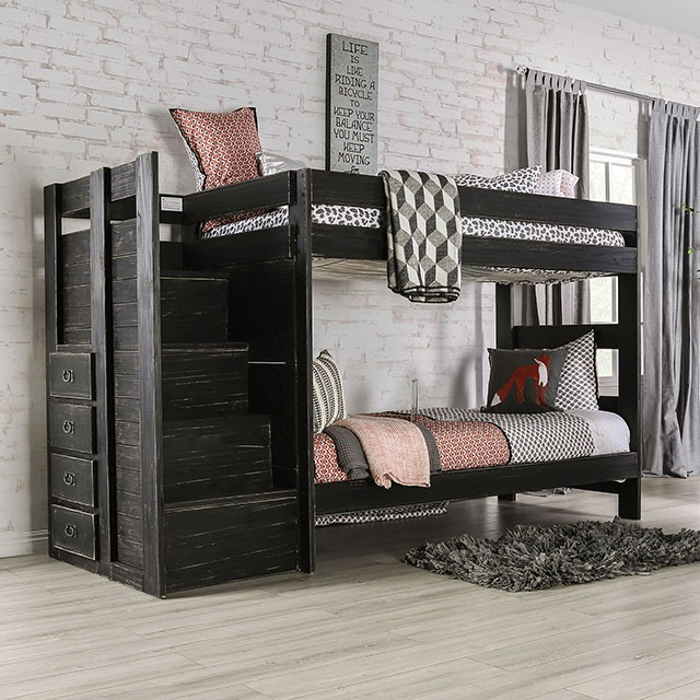 AM-BK102BK Ampelios rustic black wood finish twin over twin bunk bed with staircase with drawers
