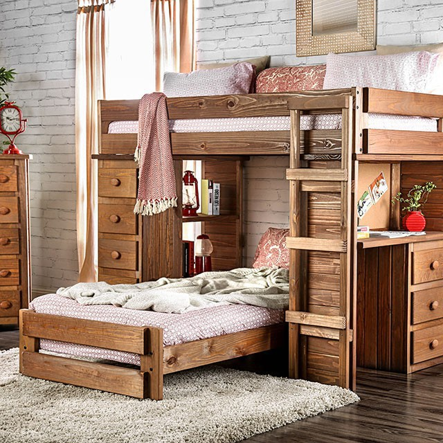 AM-BK600 Beckford rustic wood finish twin over twin bunk bed with desk drawers
