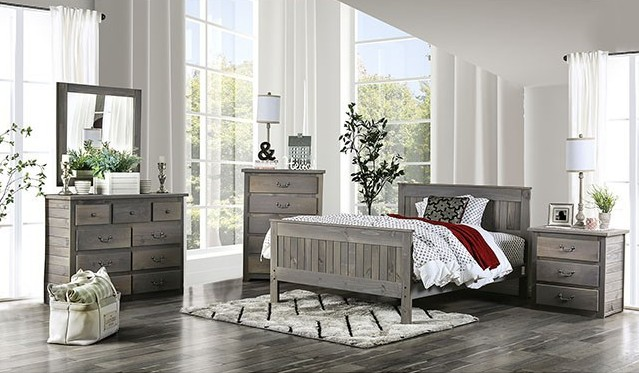 AM7973 5 pc Rockwall rustic weathered grey finish wood paneled design queen bedroom set