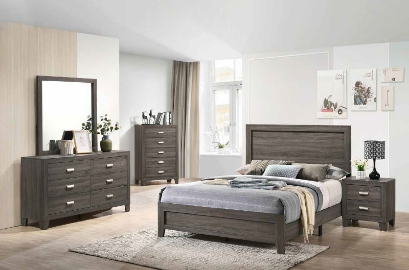 4 pc House of hampton smedley anastasia light brown finish wood queen bed set