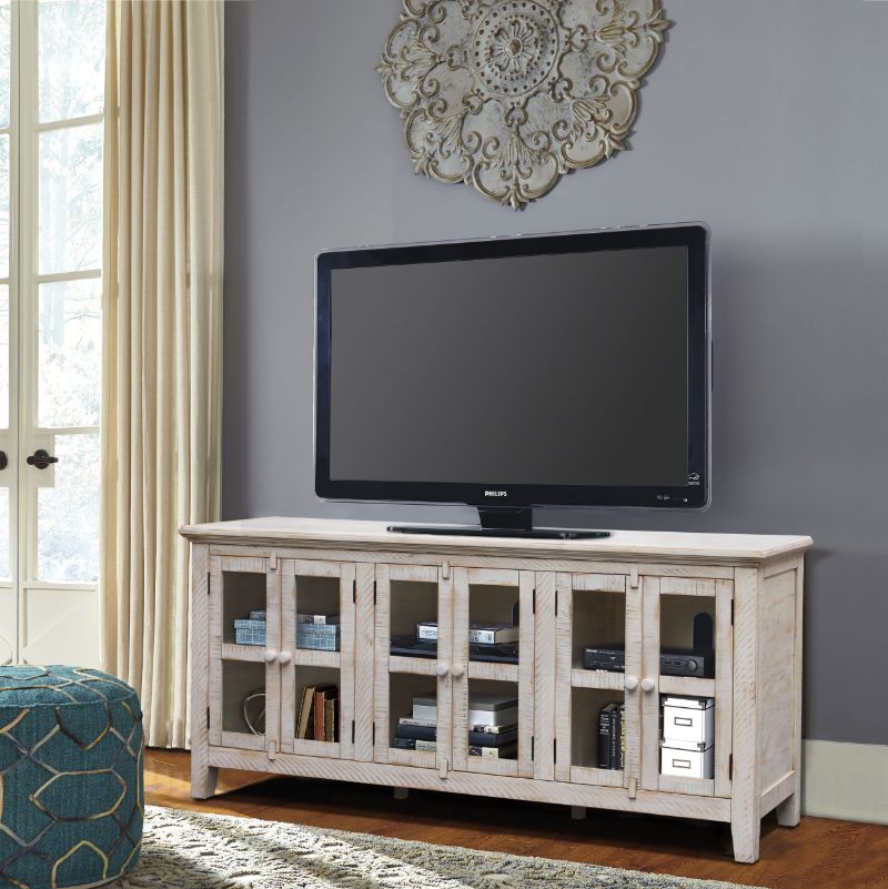 VH-9806 August grove geers athena antique white finish wood entertainment center TV stand