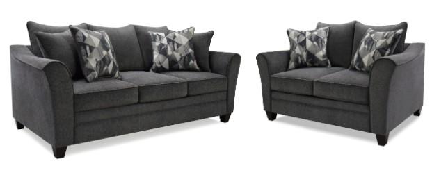 Atlantis-Slate 2 pc Red barrel studio atlantis slate fabric sofa and love seat with flared arms