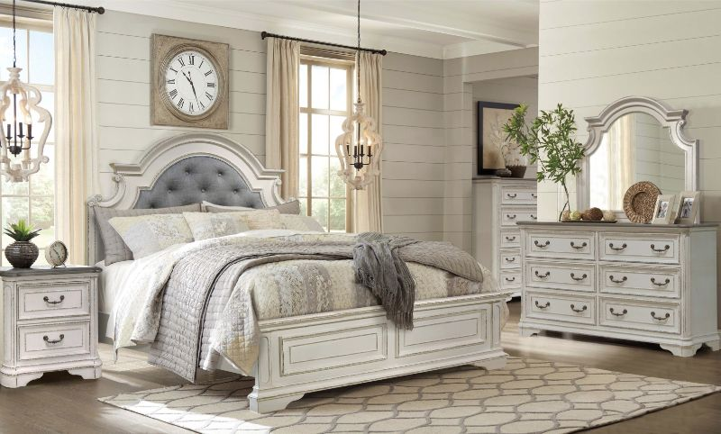 Mc Ferran B738 5 pc One allium way kiro antique white finish wood queen bedroom set