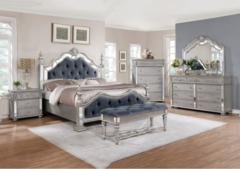 5 Pc Delilah Ii Collection Antique Silver Finish Wood Queen Bed Set With  Mirrored Accents