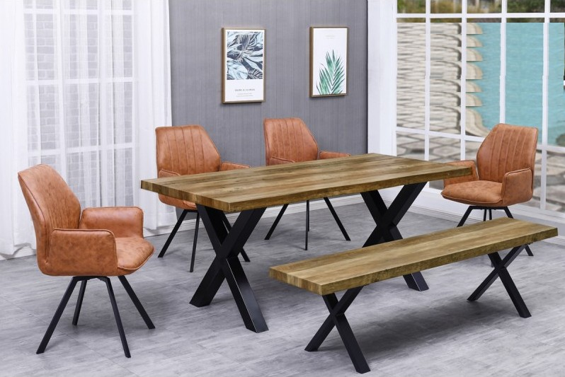 Best master BA221-beige-6pc 6 pc Brandon rustic natural finish wood dining table set
