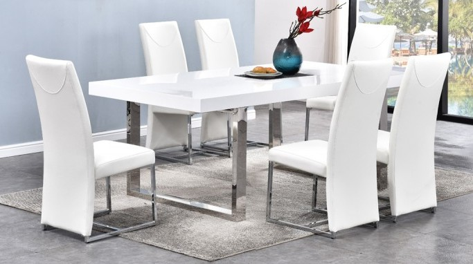 """Best master BA222-white-7pc 7 pc Broadway white high gloss finish and chrome modern dining table set. Set includes table and 6 chairs. Table measures 80"""" x 40"""" x 30"""" H. Chairs measure 17"""" W x 23"""" D x 40"""" H.  Some assembly required."""