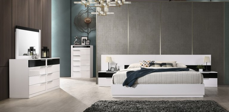 Best Master Bahamas 3pc Bahamas fenner modern style queen bedroom set with white and black lacquer finish