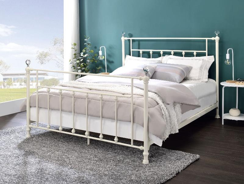 Acme BD00133F Laurel foundry comet white finish metal full bed frame set