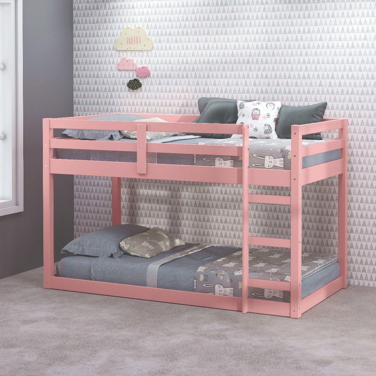 Acme BD00768 Mack & Milo abinash gaston II pink finish wood loft bunk bed set