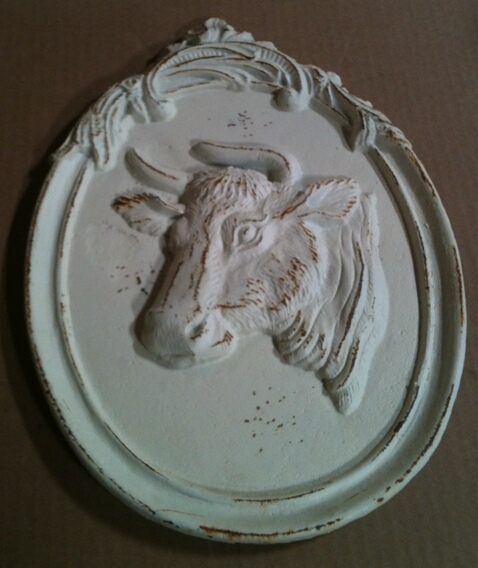 cb-1207 Cast iron antique white cow wall hanger