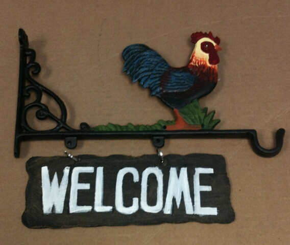 cd-1267 Cast iron rooster welcome hanging sign cd-1267