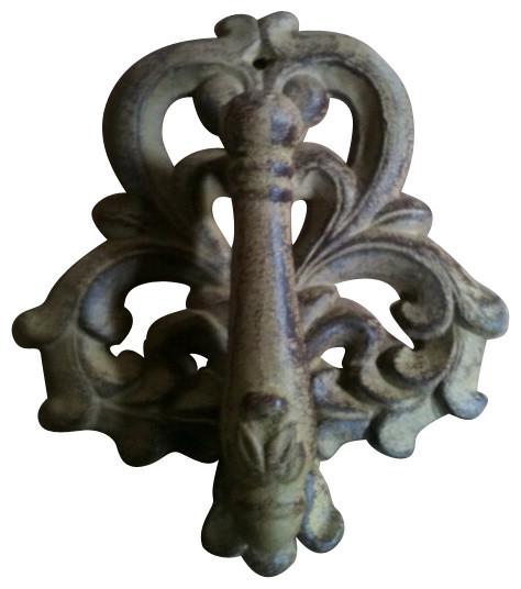 """CD-1319 Cd-1319, cast iron door knocker, antique rust, 6""""x7"""""""