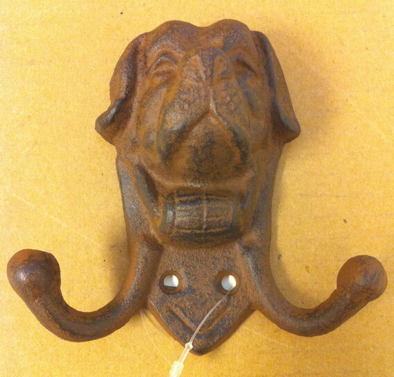 chibp-238 Cast iron dog face double hook wall hanger