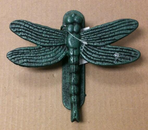 chibp-2975-061 Cast iron antique teal dragon fly door knocker