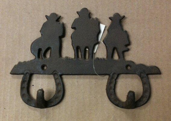 chibp-2977-07 Cast iron cowboys on horses double hook wall hanger
