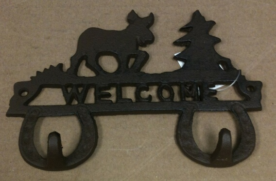 chibp2977-10 Cast iron reindeer and christmas tree double hook wall hanger