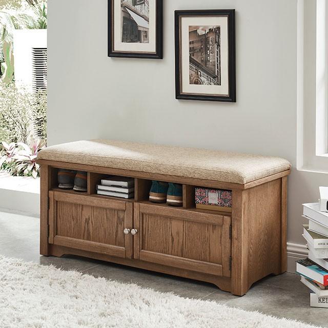 CM-AC308A Gwebdolyn oak finish wood padded seat storage shoe bench
