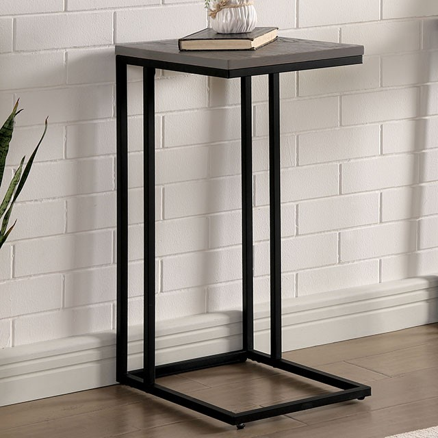 CM-AC386GY Carbon loft corvalan antique gray wood finish black metal finish chair side table