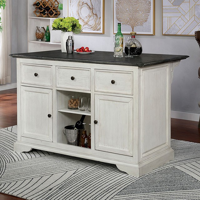 CM-AC566GY Canora grey grena scobey antique white and gray finish wood kitchen island