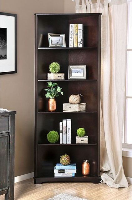 CM-AC806EX Rockwall dark walnut finish wood corner bookcase shelf unit