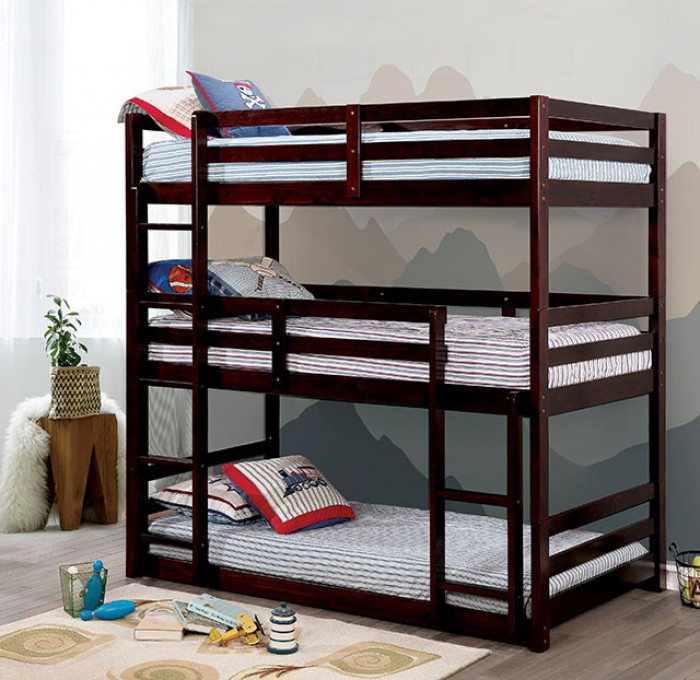 CM-BK589EX California V triple twin bed twin over twin over twin dark walnut finish wood bunk bed