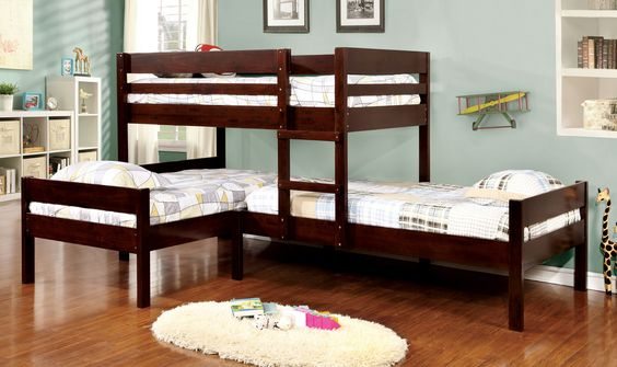CM-BK626 Dally 3 twin bed ranford twin over twin over twin espresso finish wood bunk bed