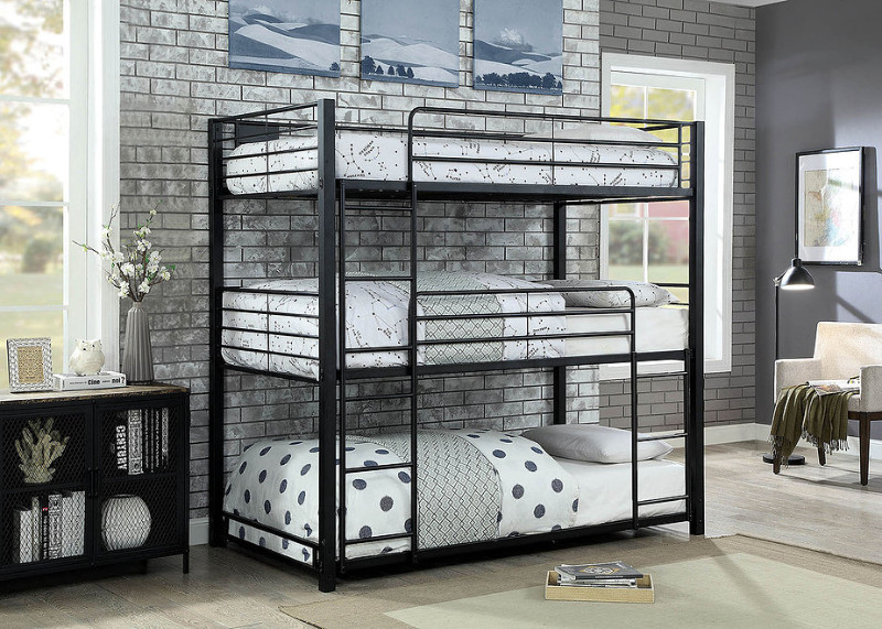 Furniture of america CM-BK917T Carolyn triple twin bunk bed twin over twin over twin sand black metal frame industrial bunk bed